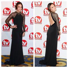 MIC's Lucy Watson looking absolutely fabulous in backless cobweb lace sleeve maxi dress MARISSA...steal her style here...  http://www.foreverunique.co.uk/all-clothing/marissa-black-jersey-maxi-dress-with-lace-sleeves/prod_3811.html