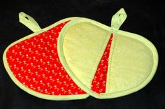 Red and Lime Green Heart Potholder by HandcraftedforKids on Etsy, $12.00