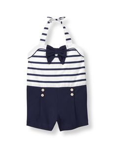 Seaside sweet, our poplin chintz romper is detailed with pleats and double buttons. Bow accents at the collar and button-close halter finish the nautical look. Nautical Looks, Janie And Jack, Girls Rompers, Navy Stripes, Summer Girls, Poplin, Kids Fashion, Girl Outfits, Casual