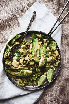 Brussels Sprouts w/ Bacon, Avocado, and Lime.