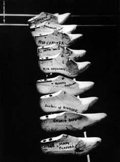 """saloandseverine: """" Salvatore Ferragamo began making shoes and boots for the film industry using the traditional techniques he had learned as an apprentice in Naples. The movie stars were so wowed by. Audrey Hepburn, Katharine Hepburn, Maurice Sendak, Bette Davis, Salvatore Ferragamo, Celebrity Shoes, Vintage Mannequin, Mary Pickford, Shoe Last"""