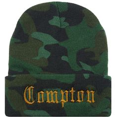 COMPTON Cuffed Beanie Hat Hip Hip Army Camo Beanies ($14) ❤ liked on Polyvore featuring accessories, hats, beanies, embroidered camo hats, army beanie, embroidery hats, beanie cap and army beanie hats