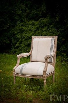 Authentica Classics Facebook Album ~ Open Arm Chair with alternating placement of Stripe. Love this idea!    by: The Found Blog  Like · · Share · Edit ·