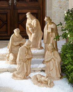 Outdoor Nativity at Neiman Marcus | 3-pc Holy Family - 980.00 + 170.00 s/h | Kings Balthazar, Gasper and Melchior - 340.00 ea + 89.00 s/h.