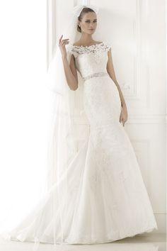 2015 Elaborately Wedding Dress Bateau Mermaid/Trumpet With Applique And Beads Tulle USD 269.99 EPP8F8ZNX2 - ElleProm.com