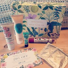 April 2016 box features a beautifully designed box by Rifle Paper Co. Boxes can sometimes very on product so here is what I got in mine ✌  PBJ Smoothie Stick It's really patchy on the lips e…
