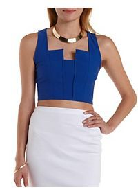 Sleeveless Notched Crop Top