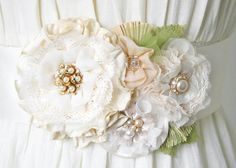 Wedding Dress Sash with Vintage Pearl Brooch by rosyposydesigns, $168.00