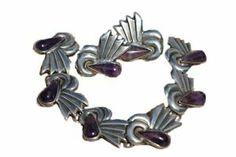Mexican Taxco 925 Sterling Silver Grape Amethyst Bracelet Earring Set Vintage | eBay