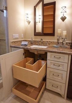 Modern Farmhouse, Rustic Modern, Classic, light and airy master bathroom design some ideas. Bathroom makeover tips and bathroom renovation tips. Bathroom Storage, Bathroom Interior, Modern Bathroom, Bathroom Organization, Organization Ideas, Bathroom Small, Cabinet Storage, Master Bathrooms, Organizing
