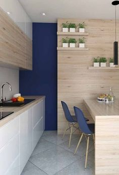 Vale apostar em uma parede com cores fortes apenas como destaque Small Kitchen Plans, Home Wall Colour, Small Apartment Kitchen, Built In Furniture, Scandinavian Home, Small Apartments, Cozy House, Kitchen Design, Sweet Home