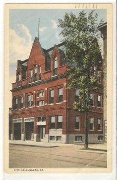 CITY HALL SAYRE PA C.T American Art Vintage Postcard 1915