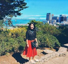 Follow me on instagram: @quennandher // TOPSHOP pleat accordion skirt // ZARA platform shoes // View of San Francisco-Oakland Bay Bridge - this is a 2-decker bridge. Standing from Telegraph Hill, San Francisco, California, USA. // Street Style. Look of the day. Outfit of the day. What I Wore. From Where I Stand.