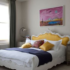yellow home decor ideas - now that it's March it's time to add a pop of color to my apartment! Maybe a bold yellow headboard? Home Bedroom, Modern Bedroom, Bedroom Decor, Quirky Bedroom, Bedroom Ideas, Yellow Headboard, Headboard Art, Fabric Headboards, Unique Headboards