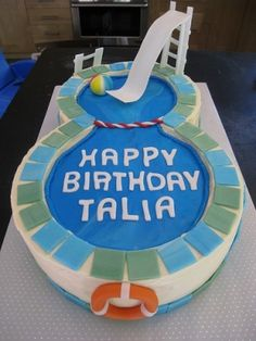 Awesome cake for a pool birthday party! from: http://sarabakescakes.blogspot.com/2009/07/talias-swimming-pool-cake.html