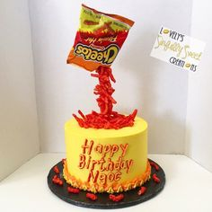Hot Cheetos gravity cake Cheetos, Gravity Cake, Junk Food Snacks, Caking It Up, Hot, Cute Cakes, Food Cravings, Themed Cakes, Cake Designs