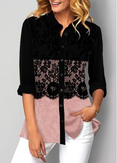Tops For Women Button Up Lace Patchwork Color Block Blouse Evening Gowns Online India, Women's Evening Dresses, Trendy Tops For Women, Blouses For Women, Women's Blouses, Teen Clothing Stores, Clothing Websites, Blouse Styles, Fashion Outfits