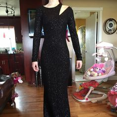 Long sleeve black sequin dress Fully sequined, long sleeved brand new with tags. Bought for prom and decided I want an orange one instead. Willing to trade. Mystic Dresses Long Sleeve