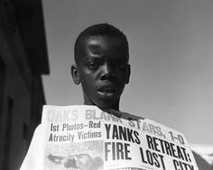 Boy selling newspapers, 1950 Photo by Imogen Cunningham, courtesy of the Imogen Cunningham Trust