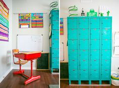 Lockers refurbished from Craigslist … great idea for extra storage.