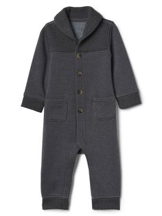 Gap Baby Shawl Collar One-Piece Heather Grey