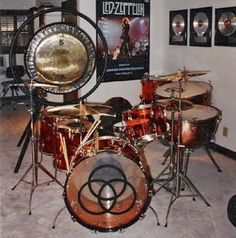 A sweet drum kit of the world famous John Bonham of Led Zeppelin. Ludwig Drums, Drum Heads, Vintage Drums, How To Play Drums, Drum Kits, Led Zeppelin, Music Stuff, Rock Music, Cool Bands