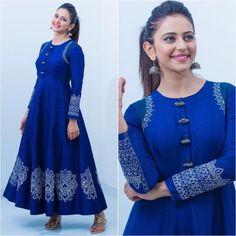 Indian Traditional Designer Beautiful Rayon Printed Blue Long Gown For Girls & Women. Anarkali Kurti Ethnic Party Wear Traditional Kurti.