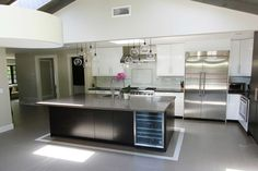 white and dark cabinetry- stainless steel on island?