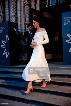 Catherine, Duchess of Cambridge leaves after announcing the Victoria and Albert Museum as the winner of the Art Fund Museum of the Year 2016 prize at a dinner hosted at the Natural History Museum on July 6, 2016 in London, United Kingdom. The Art Fund Museum of the Year prize is awarded annually to one outstanding museum which has shown exceptional imagination, innovation and achievement in the preceding year.