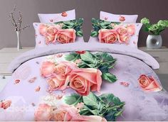 Sweet 3D Pink Rose Print 4-Piece Polyester Duvet Cover Sets
