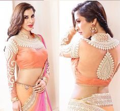 Stunning Orange & Pink #Saree With Embellished #Blouse.