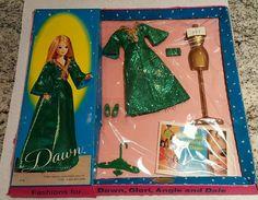 Vintage Topper Dawn Doll Fashion Green Slink/#0716 NIB