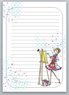 Free Notepaper Printable {spanish blog, click on Pagina diario munyeca artista to download PDF}