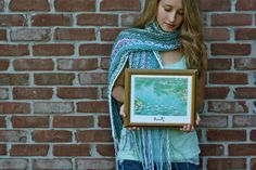 """Monet-inspired """"Water Lilies"""" Hand Knit Scarf"""