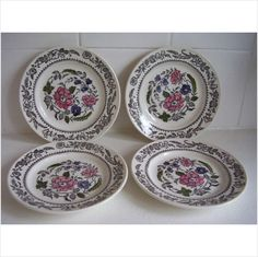 4 Broadhurst Ironstone Kathie Winkle Side Plates Hand Painted Pattern Rebecca on eBid United Kingdom £12.99