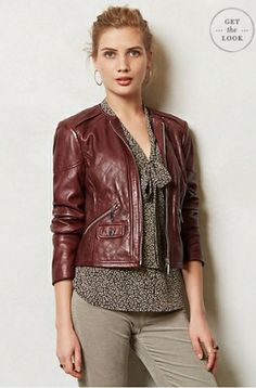 ANTHROPOLOGIE//Quilted Leather Moto Jacket
