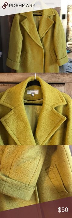 Helene Berman London wool coat Gorgeous coat! I haven't seen a color like this before, it's a mix of yellow and green. Beautifully made with high quality materials helene birman Jackets & Coats