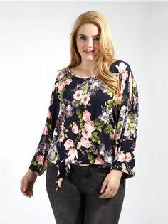02effeb59e2 Koko Cold Shoulder Floral Print Tie Front Blouse - Plus Size Girl Trends