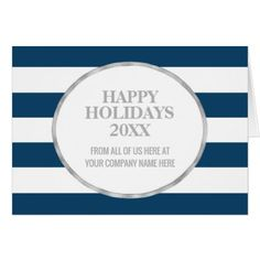 Blue Stripes Silver Corporate Christmas Card - christmas cards merry xmas family party holidays cyo diy greeting card