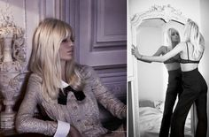 Vogue Russia shows off their take on Saint Laurent's lifestyle in this editorial starring Mathias Sourbron as Laurent alongside models Nadja Bender, Fanny 70s Fashion, Fashion Shoot, Editorial Fashion, Fashion Models, Russia Fashion, Style Fashion, Le Smoking, French Fashion Designers, Vogue Magazine