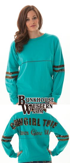 @cowgirltuffco Turquoise Jersey Tee, Cowgirl Tuff Company, Never Give Up, Rodeo, Country Girl, Horse Lover, $49.99, http://bunkhousewestern.com/H385