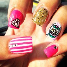My sugar skull nails - nail designs glitter diamonds