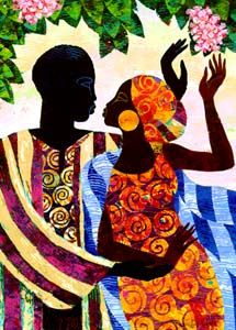 In the Garden.  Keith Mallett.  Two lovers meet in the garden