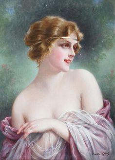 Beautiful woman by French painter Francois Martin-Kavel (1861- 1931).