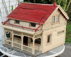 Antique Vintage Arts Crafts American Wooden Dollhouse Miniature Model Bungalow | eBay  .....Rick Maccione-Dollhouse Builder www.dollhousemansions.com