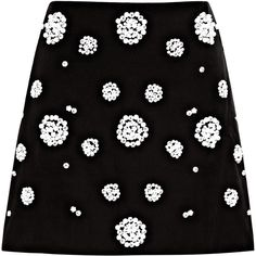 Tibi Embellished Mini Skirt (215710 IQD) ❤ liked on Polyvore featuring skirts, mini skirts, bottoms, black multi, embellished skirts, cotton skirts, short skirts, wet look skirt and flower mini skirt