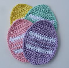 Make these Easter Crochet Coasters today for the festival with these Free Crochet Patterns of Easter Egg Coaster, Easter Bunny Coaster, and Easter Basket Coaster. Make this Easter Colourfull and cheerful with your personal touch. Crochet Placemats, Crochet Potholders, Crochet Motif, Crochet Flowers, Knit Crochet, Easter Placemats, Crochet Appliques, Easy Crochet, Easter Egg Pattern