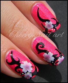 cherry nail art design decoration ongles tribal fluo fleur