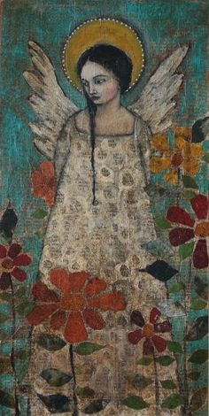 untitled work by Jane Spakowsky (Gritty Jane) - (contemporary), American (wordpress) Angel Images, Angeles, I Believe In Angels, Art Populaire, Angels Among Us, Angel Art, Mexican Folk Art, Religious Art, Medium Art
