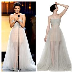 Eva Longoria in   MARIA LUCIA HOHAN  TULLE DRAPED LONG DRESS